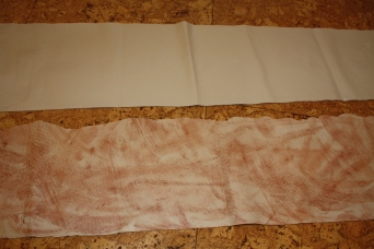 Original leather for the waistband; dirty (bloody?) leather for the waistband