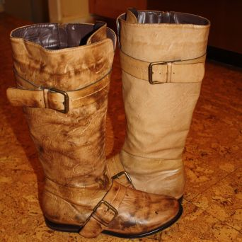 Oiled boot & un-oiled boot
