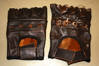 Gloves before abuse, and gloves after abuse